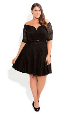 Plus Size Rumba Off Shoulder Dress - City Chic - City Chic