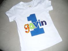 """Infant/Toddler Boys First 1st Birthday Personalized BLUE """"1"""" Shirt-lively letters, birthday, blue, party, personalized"""