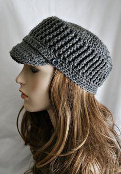 Womens Cadet Hat  Crochet Hat for Women or Teens  por elifins