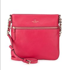 """Kate Spade New York  cobble hill, deep pink kate spade new york pebbled leather crossbody bag. Adjustable crossbody strap with 20"""" drop. Embossed logo with spade charm at top center. Exterior zip pocket and zip top; golden hardware. Inside, striped fabric lining; one zip and two slip pockets. 10""""H x 11""""W x 1""""D; weighs 1 lb. kate spade Bags"""