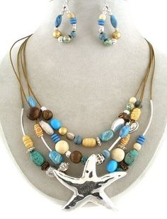 35.95$ WHOLESALE JEWELRY LOT 2 sET Chunky Silver Starfish Wood BeadS Necklace Earrings