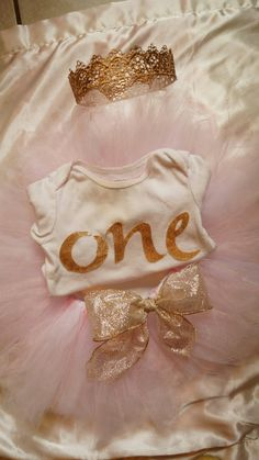 Pink and Gold Girls First Birthday Tutu Outfit by AHopeForGrace
