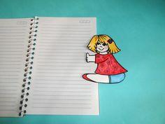 boneca de papel agarradinha para marcar página de livro ou caderno