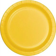 "Custom & Unique {9"" Inch} 24 Count Multi-Pack Set of Medium Size Round Disposable Paper Plates w/ Single Colored Basic Simple Boys Party Celebration Event ""Bright Sunny Yellow Colored"" mySimple Products"