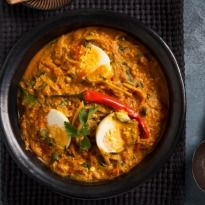 Goan Egg Curry Recipe - A egg curry with three special ingredients - coconut cream, tamarind and poppy seeds, sets this recipe apart.