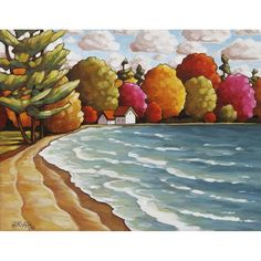 Check it out, my new #ArtPrint by #CathyHorvathBuchanan Summer Cottage Lodge at the #Beach, Folk Art #Lake #Landscape, #Archival #Artwork #Giclee #Reproduction at #SoloWorkStudio on #Etsy