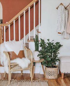 entry way | hallway | entrance | neutral | chic | bohemian | natural | burnt orange | indoor plangs | rattan