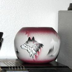 Rustic Southwestern Navajo Pottery Vase Cedar Mesa Howling Wolf Series Ceramic Art Signed
