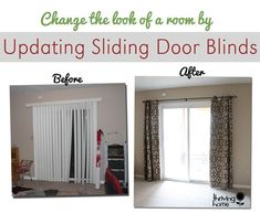 Curtain rods from galvanized pipes without the industrial look super easy home update replace those sliding blinds with a curtain rod and curtains slider door curtainscurtains for patio planetlyrics Image collections