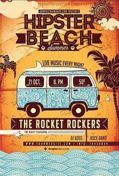 Hipster Beach Summer Flyer on Inspirationde Hipster Poster, Hipster Beach, Festival Logo, Flyers, Summer Beach, Rock Bands, Design Inspiration, Graphic Design, Retro