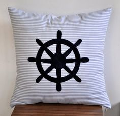 Ship Wheel Decorative Pillow Cover   Stripe Blue Cotton