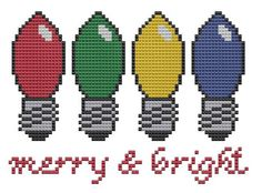 Merry and Bright Christmas lights cross stitch