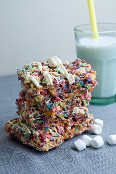 Fruity Pebble Rice Krispy Treats #dessert #sweets #recipe #fruitypebbles #ricekrispy