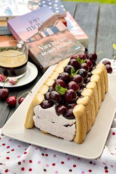 PRAJITURA RAPIDA CU CIRESE SI CREMA MASCARPONE | Diva in bucatarie Cheesecake, Deserts, Food And Drink, Mascarpone, Cheesecakes, Postres, Dessert, Cherry Cheesecake Shooters, Plated Desserts