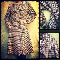 """GORGEOUS Vintage Plaid Button Down Pendleton Coat Rescued from my Grandma Naomi's closet,this amazing wool coat has been well cared for and is in mint condition! Vintage 1950's. Top snap closure with 3 buttons down the front, a staid belt in the back with a pretty pleat to finish the look. 100% wool with lovely deep purple lining. No other tag,but I believe the lining is satin and the size a modern 12-16: Shoulder-shldr 18"""", Underarm-undrarm 21 1/2"""", L 42"""". This piece needs a new loving home…"""