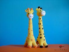yellow giraffes in crochet