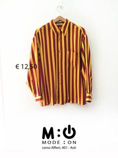 Camicia in seta a righe gialle e borgogna.  Taglia: M  Prezzo: 12,50 €  Per info e acquisti: https://www.facebook.com/notes/mode-on/come-comprare-su-mode-on/459681847482429