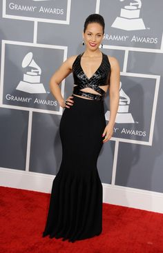 Alicia Keys arrives at the 55th Annual GRAMMY Awards