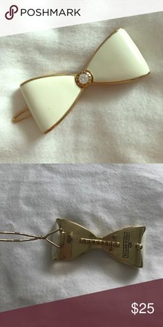 Henri Bendel Hair Clip White and gold hair clip. Great condition. Bought this a long time ago but never wore it. henri bendel Accessories Hair Accessories