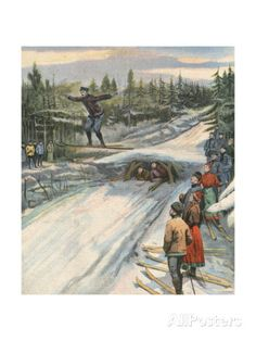 Ski Jumping, Norway 1907 Giclee Print