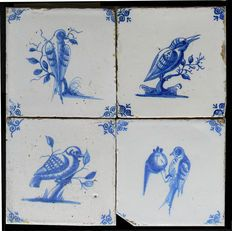 4 tiles Blue Delft with birds, Not restored