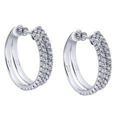 14k White Gold Diamond Classic Hoop Earrings | Gabriel & Co. New York