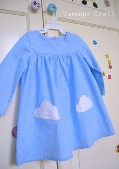pois and clouds girl dress. Handmade by Tamago Craft