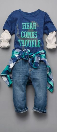 """Here comes trouble"" Toddler boys fashion Kids clothes Faux-layered top Graphic tee The Children's Place Fashion Kids, Toddler Boy Fashion, Toddler Boy Outfits, Look Fashion, Kids Outfits, Fashion Clothes, Style Clothes, Toddler Girl, Toddler Fashionista"
