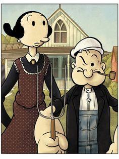 Popeye Cartoon Sailor Olive Oyl American Gothic Painting Pose Tee Shirt S-3XL