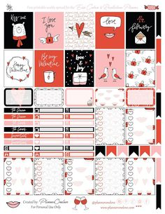 Free Printable Valentine's Planner Stickers {page one} from Planner OneLove