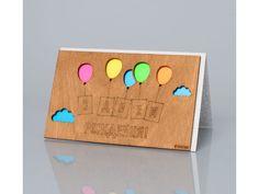 Открытка «С днем рождения! (Воздушные шарики)» открытка своими руками, подарок своими руками, поделка, дизайн, деревянная открытка, поздравление, раскраска, недорого купить