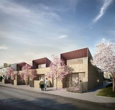 Bell Philips Architects, Greenwich Bungalos by Forbes Massie, via Behance Building Facade, Building Design, Brick Rendering, Townhouse Designs, Brick Facade, Urban Architecture, Affordable Housing, London, Modern House Design