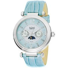 Burgi Women's Diamond Swiss Quartz Strap Watch, wow, moon phases and baby blue too...