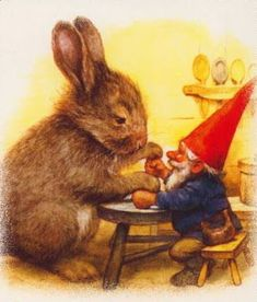 Some Gnomes invite pink eared rabbits (Geaster Gunnies) to their homes for games and fun in May.