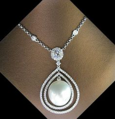 INCREDIBLE DIAMONDS AND SOUTH SEA PEARL NECKLACE...ABSOLUTELY TO DIE FOR! 18K WG #Pendant