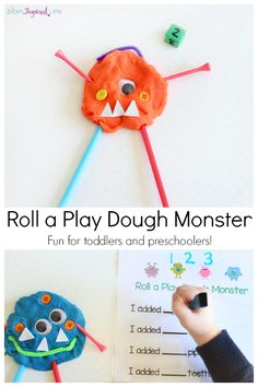 Play Dough Monster Activity For Learning Numbers And Counting. Incorporates Printable Recording Sheet Perfect For Toddlers And Preschoolers. Playdough Activities, Number Activities, Counting Activities, Infant Activities, Activities For Kids, Colour Activities, Math Games, Toddler Fun, Toddler Preschool