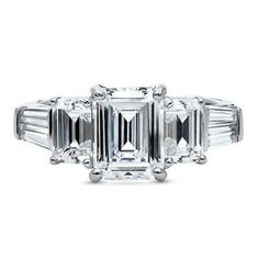 Platinum Plated Silver Emerald Cubic Zirconia CZ 3-Stone Engagement Ring 4.09 CT