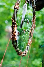 Materials Needed for the Dream Catcher 1. A flexible tree branch, such as willow 2. Leather lace in a natural colour 3. Sinew or faux sinew (waxed cotton cord) 4. Stone or bone beads with large holes 6. Natural tone feathers 7. Craft glue