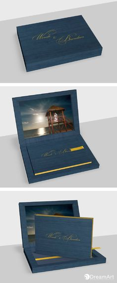 Beautiful example of a @graphistudio Young Book. Special Thanks to Wendi & Brendan! #DreamArtPhotography #DreamArtWedding #WeddingBook #GraphiStudio #YoungBook - Book Size 30x 20 cm. 30 pages. Ribbon Sunny Yellow. Box Maple Dark Blue. Cover Book Maple Dark Blue. Inside Box Photographic paper. Ennoblement Raised Foil Gold.
