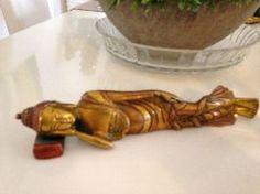 Reclining Brass Buddha with beautiful Stone work / Inlay Design