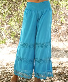 Loving this Turquoise Crochet Shirred-Waist Palazzo Pants on #zulily! #zulilyfinds