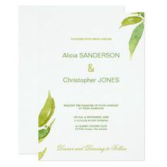 #Green foliage leaves simple minimalist wedding card - #weddinginvitations #wedding #invitations #party #card #cards #invitation #elegant