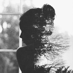 The silhouette of the girl fading into the forest is a great use of Photoshop. The message of the picture may not be clear to everyone, but the design is very well done. The contrast between black and white is always a nice aspect to incorporate. Photomontage, Creative Photography, Portrait Photography, Photography Ideas, Urban Photography, People Photography, Color Photography, Double Exposure Photography, Double Exposure Portraits