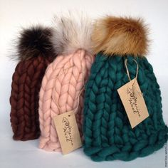 Купить Шапка с помпоном из толстой пряжи - комбинированный, шапка, вязаная шапка, шапка из толстой пряжи