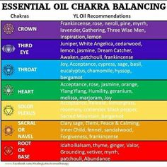 Young Living Essential Oils: Chakras   Learn more or to order Young Living essential oils visit me at www.EssentialOilsObsessed.com