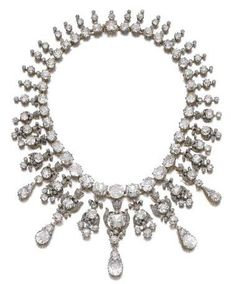 Diamond necklace Sothheby's is presents a selection of jewels from the collection of Flora Sassoon. Outstanding pieces from her collection include a diamond necklace,(lot 459, est. 400,000 – 700,000).