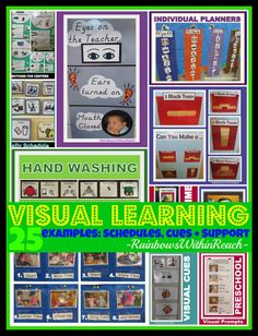 VISUAL Learning: Cues, Supports and Systems used in Preschool and Elementary for Children with Special Needs. This blogger collated a whole series of visual cues, visual supports and visual schedules onto one page! The article is FILLED with references that will be appreciated by parents and professionals.
