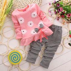 2015 Girls clothes Baby Girl Clothing Set Children Flower Bow Cute Suit 2PCS Kids Twinset Top T Shirt +Plaid Pants Leggings