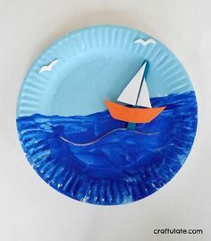 Boat crafts - Paper Plate Boat Scene a fun craft for kids with movable boat – Boat crafts Boat Crafts, Paper Plate Crafts For Kids, Bible Crafts, Camping Crafts, Fun Crafts For Kids, Summer Crafts, Toddler Crafts, Art For Kids, Activities For Kids
