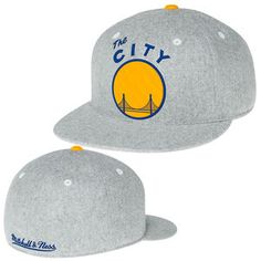Golden State Warriors Mitchell & Ness The City Solid Flannel Flat Brim Fitted Cap - Light Grey